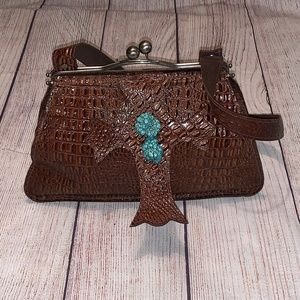Arohoe Brown Leather Western Purse Cross Turquoise